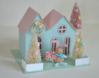 Easter Putz House / Glittered Easter House