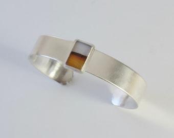 Montana Achat Manschette Armband, Sterling Silber Armreif, Herren Armband, Bild Achat, minimalistische Manschette Armband, moderne zeitgenössische Manschette