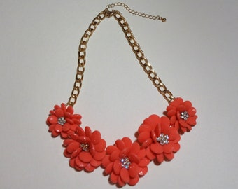 Vintage Tangerine-Colored Flower Necklace, Plastic and Glass Stones