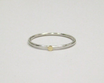 """18K Solid GOLD & Sterling SILVER """"Dot"""" ring."""