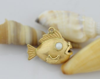 14k Yellow Gold Estate 4.5 mm Pearl Eyes Blowfish/Blow Fish Animal Pendant