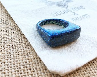 Blue Resin Ring - Glitter Resin Ring - Glitter Ring - Statement Ring - Glitter Dome Ring - Resin Glitter Ring Size 10 Many Colours Available