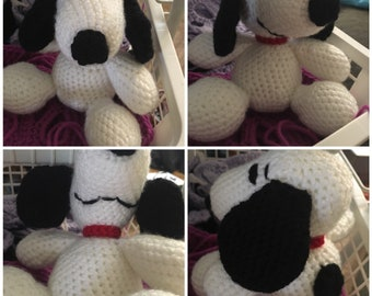 Snoopy stuffed animal, crochet snoopy, inspired by peanuts, Charlie Brown, made to order