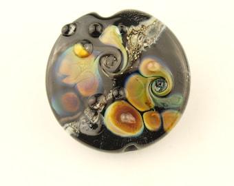 Lampwork Bead, Glass Lentil Focal, Black,  Ivory, Silver, Purple, Blue
