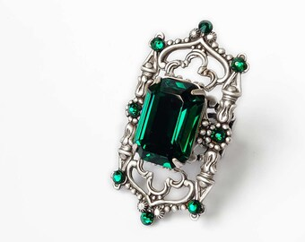 Gothic Rings Large Emerald Ring Gothic Jewelry Green Swarovski Ring Silver Filigree Statement Green Ring Octagon Cocktail Ring goth jewelry