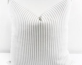 PILLOW. Pillow  Cover. Grey Classic Stripe. Grey & white Sofa Pillow Cover.Stripe Sham Cover.Cushion Covers.Pillow Case. cotton.Select size