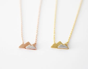 Mountain necklace, Rose gold mountain necklace, Gold mountain necklace, mixed metal mountain necklace, adventure necklace