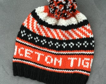 CUSTOM handknit team or school winter hat, your choice of color and pattern