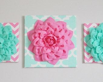 Bubble Gum Pink and Mint Decor, Nursery Wall Art, Personalized Kids Wall Art, Flower Art, Custom Letter Art, Girl Room Decor, Nursery Art