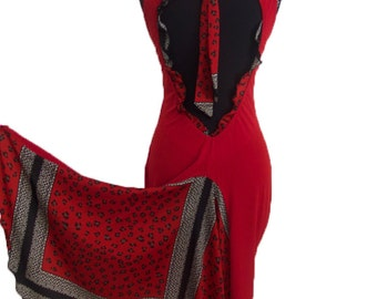 Red Tango Dress with Open Back | Milonga Dress | Argentine Tango Clothes