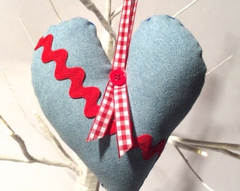 Crafty Christmas! Handmade Hand Stitched Country Chic Denim Stuffed Heart Ornament/Ric Rack Rad/Shabby Cottage/Love/Gingham/Cute/Gift