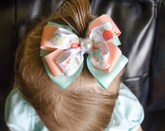 Hair Bow - Boutique Layered Peach and Turquoise Bow, Girls Hair Bow, Baby Hair Bow