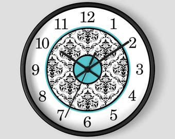 Turquoise Damask Wall Clock - Black White Damask with Turquoise Accents - 10-inch Round Clock - Made to Order