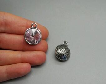 Silver Pendant charm bead purple Crystal birthstone (G88)