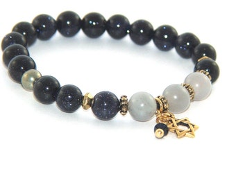 Star of David Bracelet, Stretch Mindfulness Bracelet, Blue & Grey