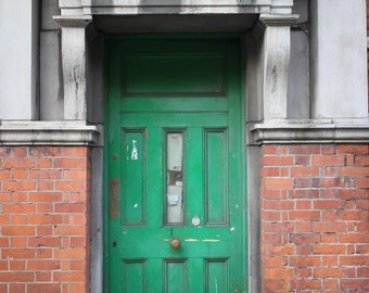 Old Vintage Rustic Green Door Art Print Dublin Ireland Architecture Photography Home Decor Urban Wall Art