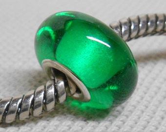 Transparent Green Lampwork Bead, Silver Cored Large Hole Handmade Lampwork Bead