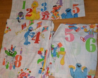 Vintage Sesame Street Numbers Twin Sheet Flat Fitted Pillowcase Fabric Muppets