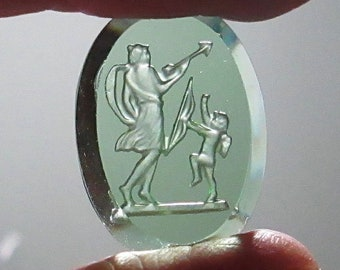 1 Green Vintage West German Pressed Glass intaglio Cupid 1920's