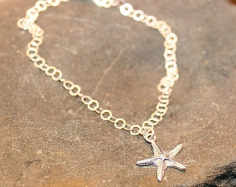 Starfish Anklet, Sterling Silver Anklet, Beach Jewelry, Beach Bride Jewelry