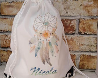 Personalised Dreamcatcher Drawstring backpack bag, swimming bag, water-resistant, child's bag, kid's bag, school bag