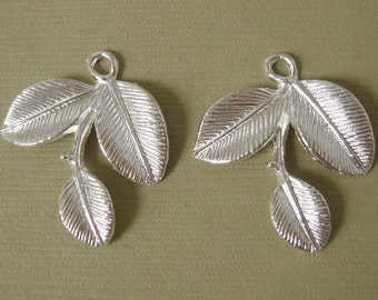 10pcs-Branch Leaf Charm Pendant Connector Sterling Silver Plated.