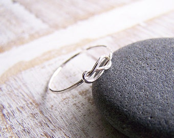 Love Knot Ring - Silver Stack Ring - Hammered Sterling Silver Knot Ring - Custom Stack Ring - Recycled Sterling Silver Ring