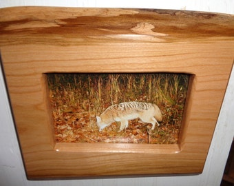 wooden frame handcrafted rustic 4 x 6 cherry picture frame wildlife photo coyote country primitive natural wood live edge