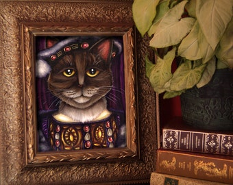 King Henry VIII Cat Art, Brown Tabby Cat Dressed as Tudor King, 8x10 Fine Art Print