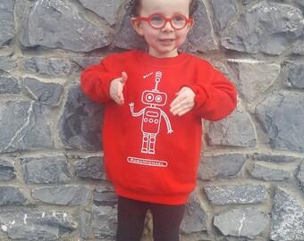 Kids Robot Sweater, Children sweater, customizable sweater, robot name sweater, toddler sweater, robot sweater, personalized robot sweater