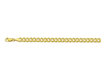 14K Gold Man's Bracelet - Curb Chain Bracelet With Lobster Clasp - Large Chain in 14K Yellow or White Gold - Solid Gold Chain BRacelet