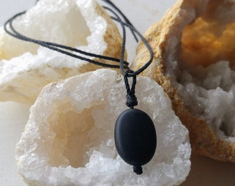 Men's Stone Necklace, Black Necklace, Necklace for Him, Masculine Jewelry, Blackstone Pendant, Minimalist Men's Necklace, Earthy Necklace