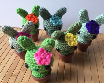 Springtime Cactus Flower Moon Buns - Spring Equinox Amigurumi Cactus Bunny Rabbit - READY TO SHIP