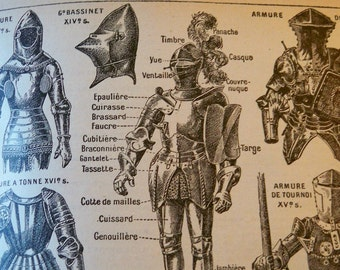 French Lithograph - Ancient Armour - 1920s engraving - original - Petit Larousse