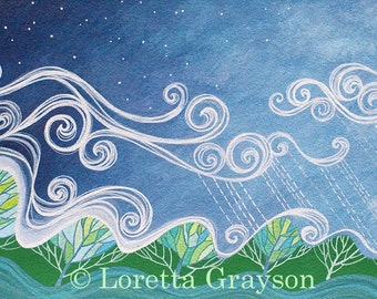 LARGE December art print. Cloud, wind and rain blowing over mountains and valleys, a fresh new year