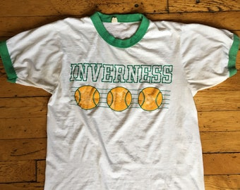 1980's Inverness tennis ringer t shirt USA large