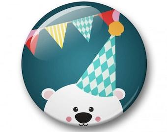 Party bear badge 32mm | Cute bear pin back button | kawaii pin badge  | kids party | Gift Party Favor | bear Accessory
