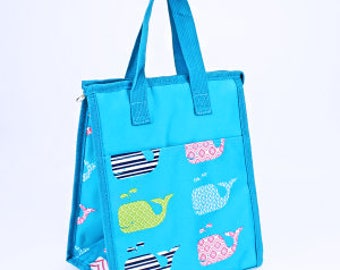 Blue Whale Monogram Lunch Bag   Monogram Lunch Box   Back to School   Birthday Gift   Kids Lunch Bag   Adult Lunch Bag