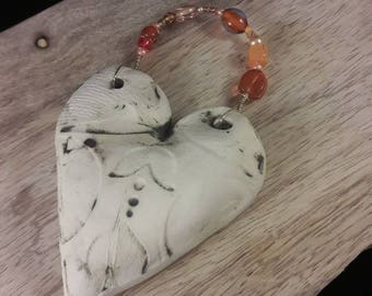 Orange and green heart - wall hanging - one of a kind