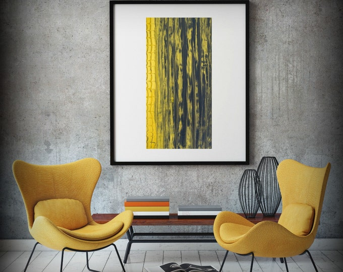 Giclee Abstract Fine Art Print from Original Acrylic Abstract Painting 8x16-24x48 Gray and Yellow Gold Wall Art Gift for Men Office Wall Art