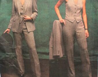 UNCUT Anne Klein Petite Jacket, Vest and Pants Size 12,14,16 Bust 34, 36, 38 Vogue American Designer 2694