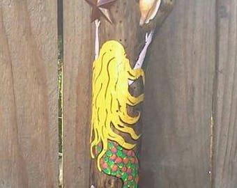 Painted Mermaid on Driftwood