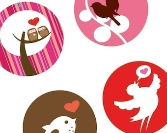 Cute Valentines Day Critters - 1.313 Inch (33mm) Digital Collage Printable Sheet For Badges and Buttons - Instant Download -Buy 2 Get 1 Free