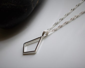 Kite-Shaped Sterling Silver Geometric Necklace