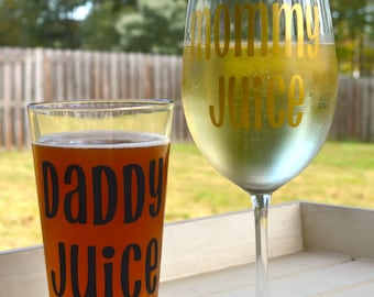 Mommy Juice and Daddy Juice set, mommy wine glass, daddy beer glass, new mom gift, new dad gift, new parent gift, mothers day gift, gag gift