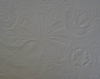 Vintage 1980s Wedding Gift Wrap Embossed Wrapping Paper Doves & Bells For Bride and Groom--1 Sheet