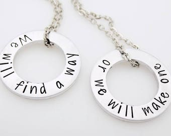 READY TO SHIP Long distance relationship matching Set We will find a way We will make one  Long Distance Love living apart moving away gift