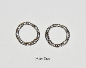 5 x 22mm silver plated closed rings