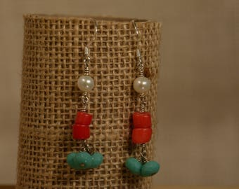 Sterling Silver Coral and Turquoise Earring