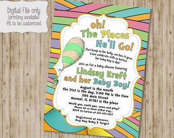 Oh the Places You'll Go Invitation, Oh the Places You'll Go Baby Shower Invitation, Baby Boy Shower Invitation, Baby Girl Shower Invitation